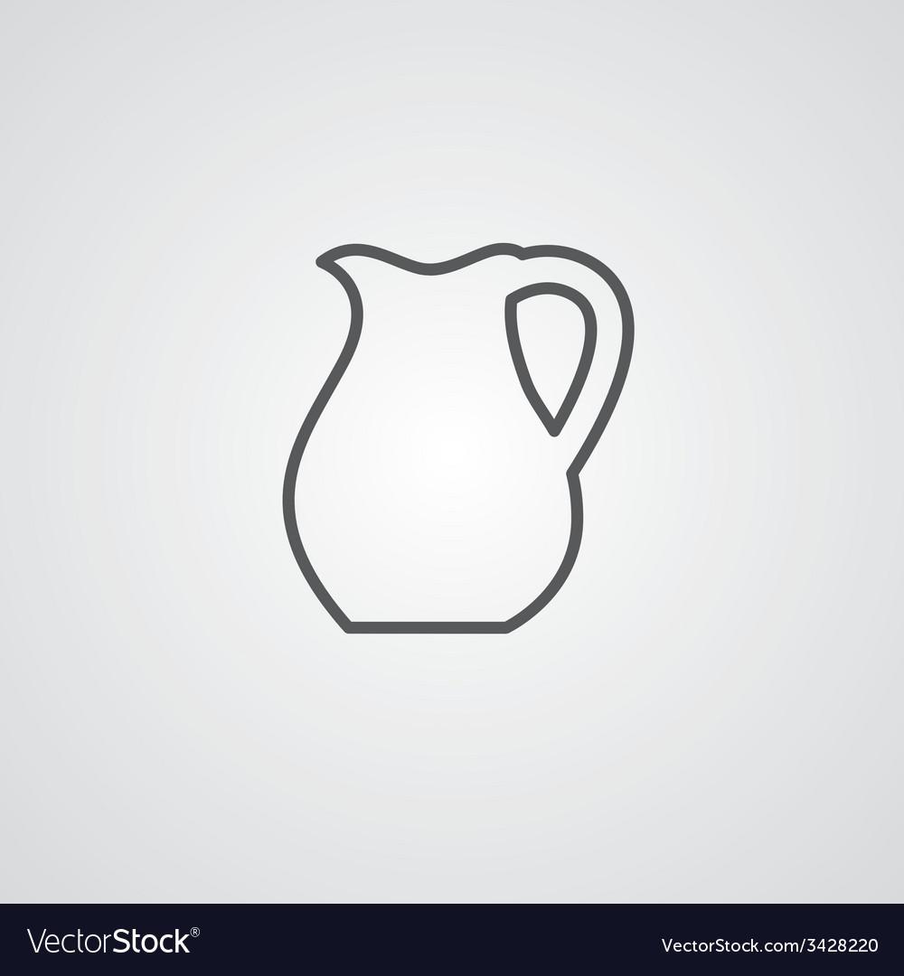 Pitcher outline symbol dark on white background vector | Price: 1 Credit (USD $1)