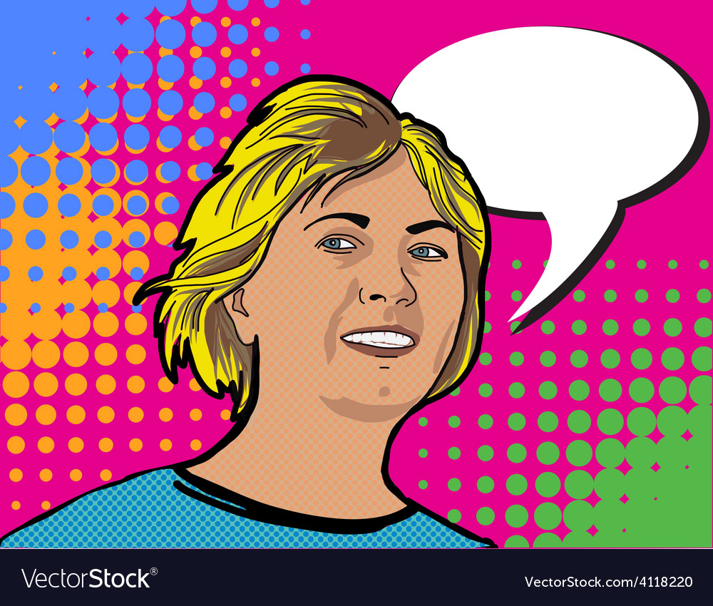 Pop art portraite girl with booble vector | Price: 1 Credit (USD $1)