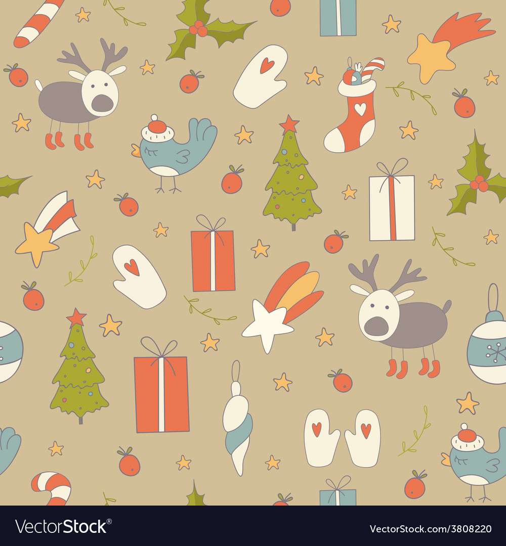 Seamless pattern with christmas elements vector | Price: 1 Credit (USD $1)