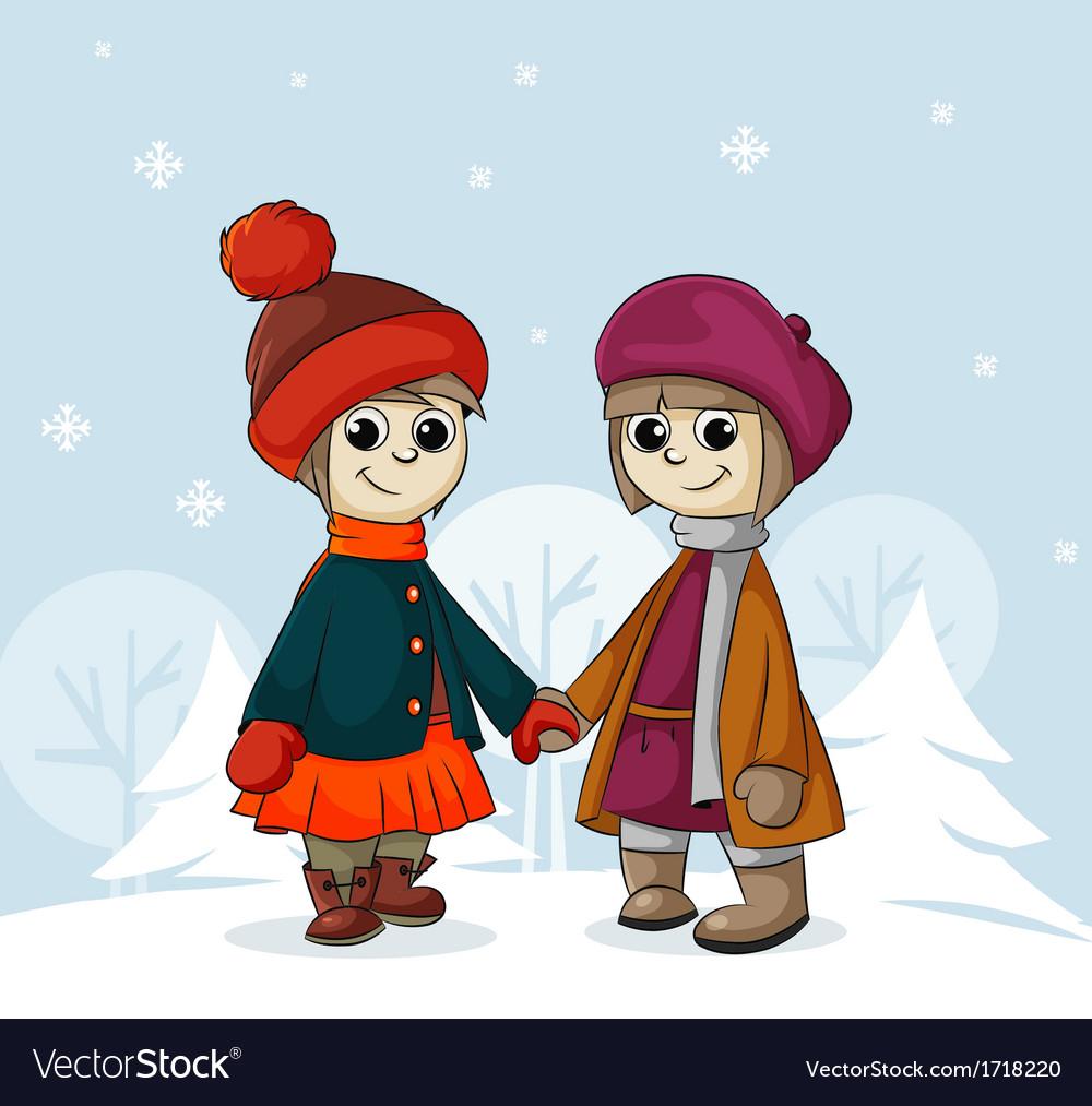 Two girlfriends in winter vector   Price: 1 Credit (USD $1)