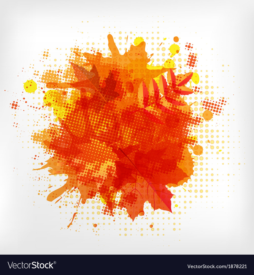Abstract orange with blobs autumn leafs vector | Price: 1 Credit (USD $1)