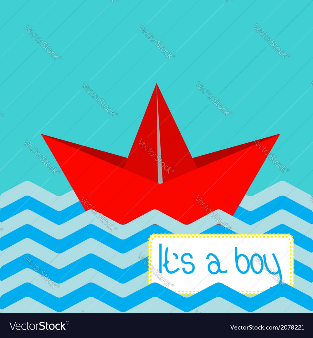 Baby boy shower card with red paper boat vector | Price: 1 Credit (USD $1)