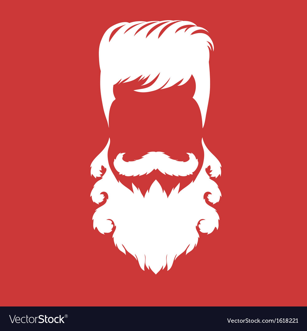 Bearded man silhouette with long hair vector | Price: 1 Credit (USD $1)