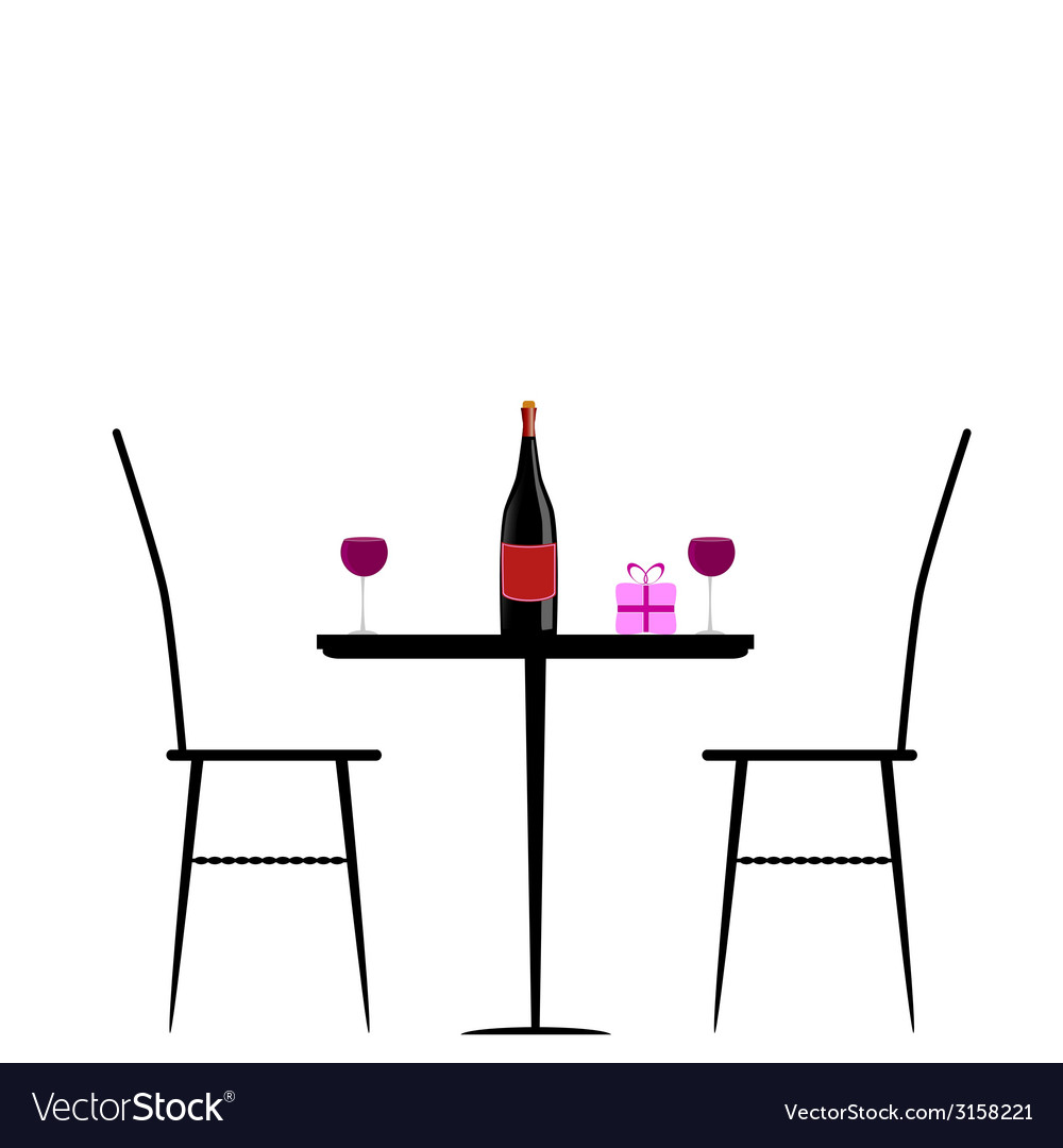 Chair and table with wine vector | Price: 1 Credit (USD $1)