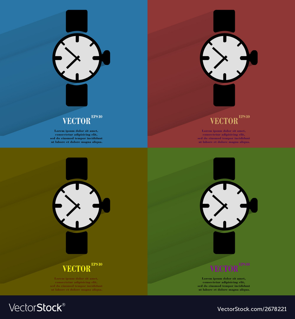 Color set watchclock flat modern web button with vector | Price: 1 Credit (USD $1)