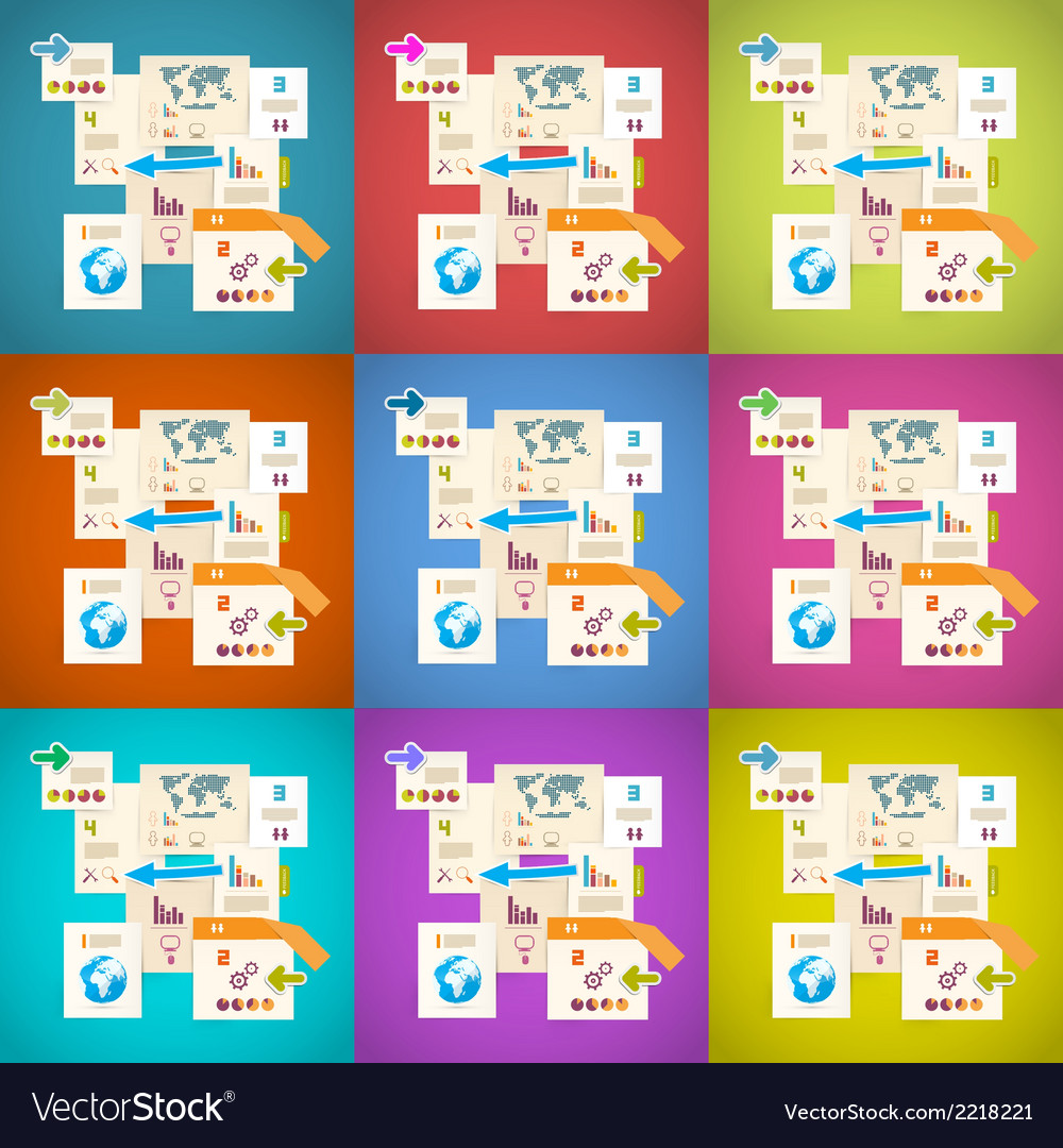 Colorful infographics paper layout set vector | Price: 1 Credit (USD $1)