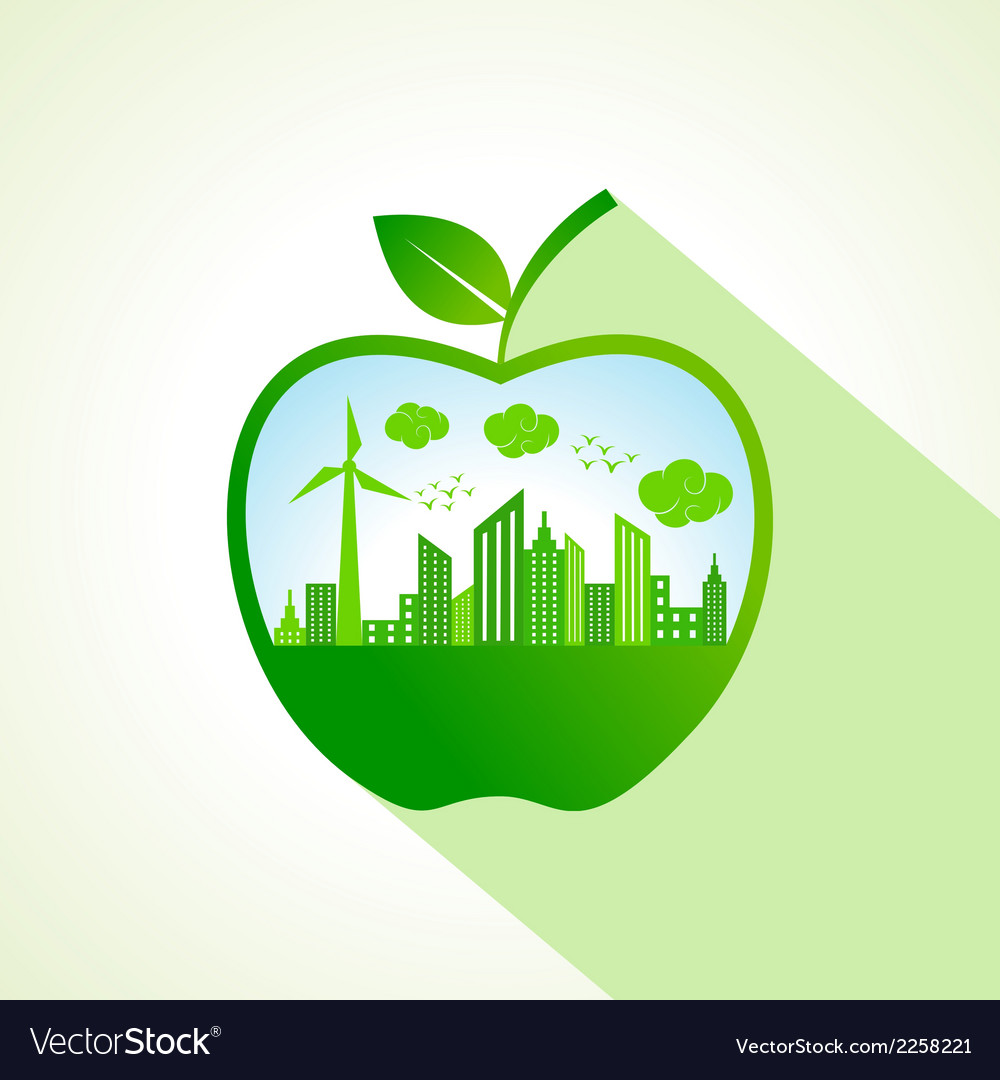 Ecology concept with apple stock vector | Price: 1 Credit (USD $1)