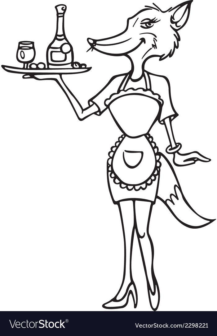Fox cocktail waitress outline vector | Price: 1 Credit (USD $1)