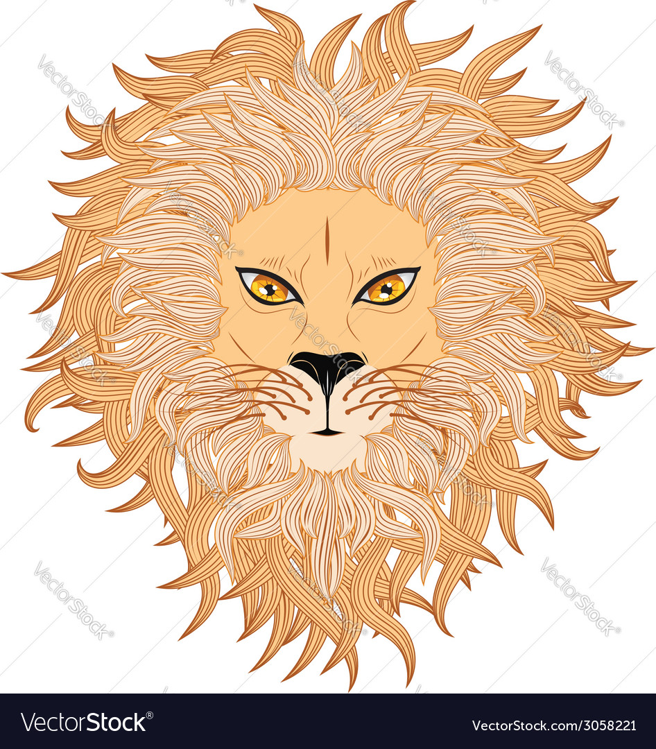 Lion face3 vector | Price: 1 Credit (USD $1)