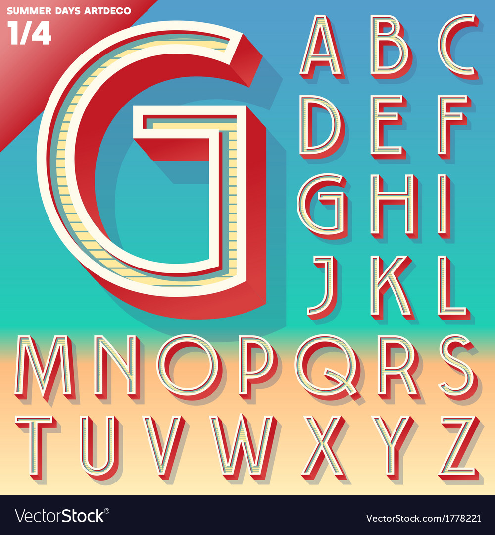 Retro alphabet for summer typography design vector | Price: 1 Credit (USD $1)