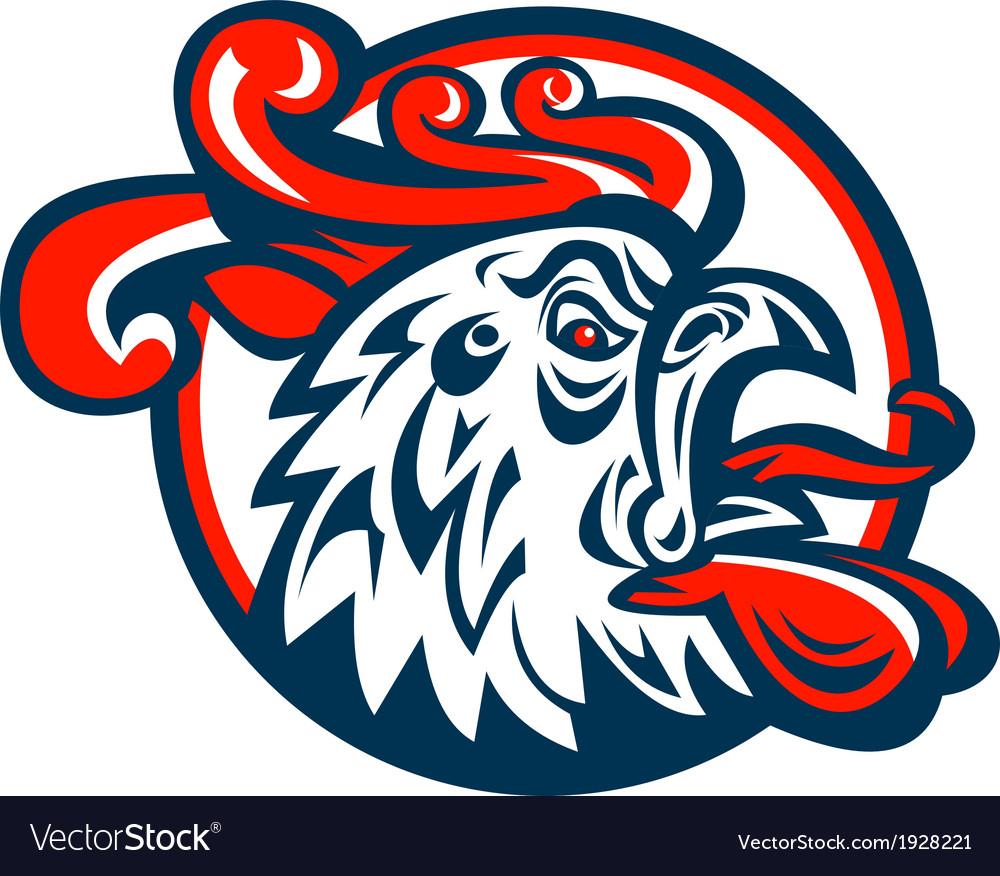 Rooster cockerel crowing head vector | Price: 1 Credit (USD $1)