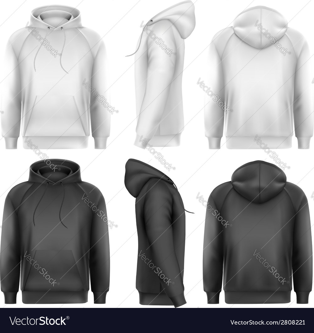 Set of black and white male hoodies with sample vector | Price: 1 Credit (USD $1)