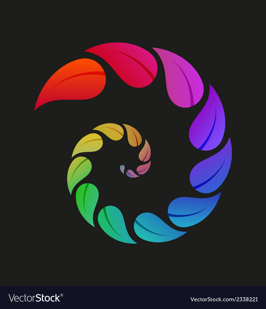 Spiral of leaves with different color vector | Price: 1 Credit (USD $1)