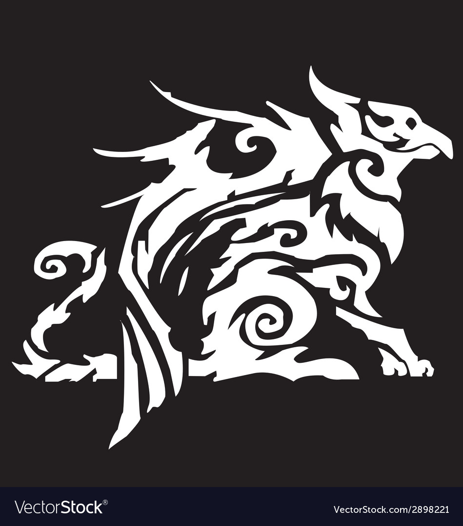 Standing griffin with lifted paw vector   Price: 1 Credit (USD $1)