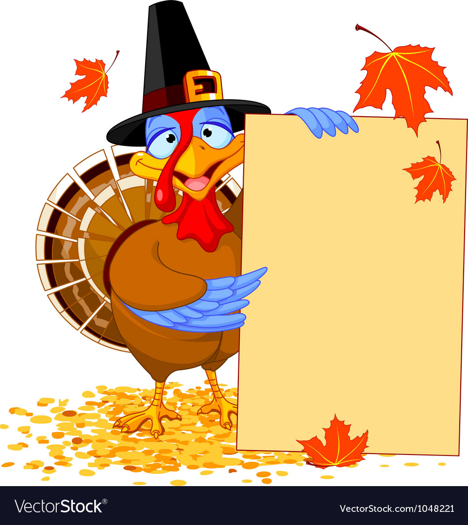Thanksgiving turkey with holiday note vector | Price: 3 Credit (USD $3)