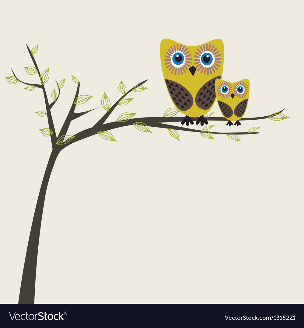 Two cute owls on the tree branch vector | Price: 1 Credit (USD $1)
