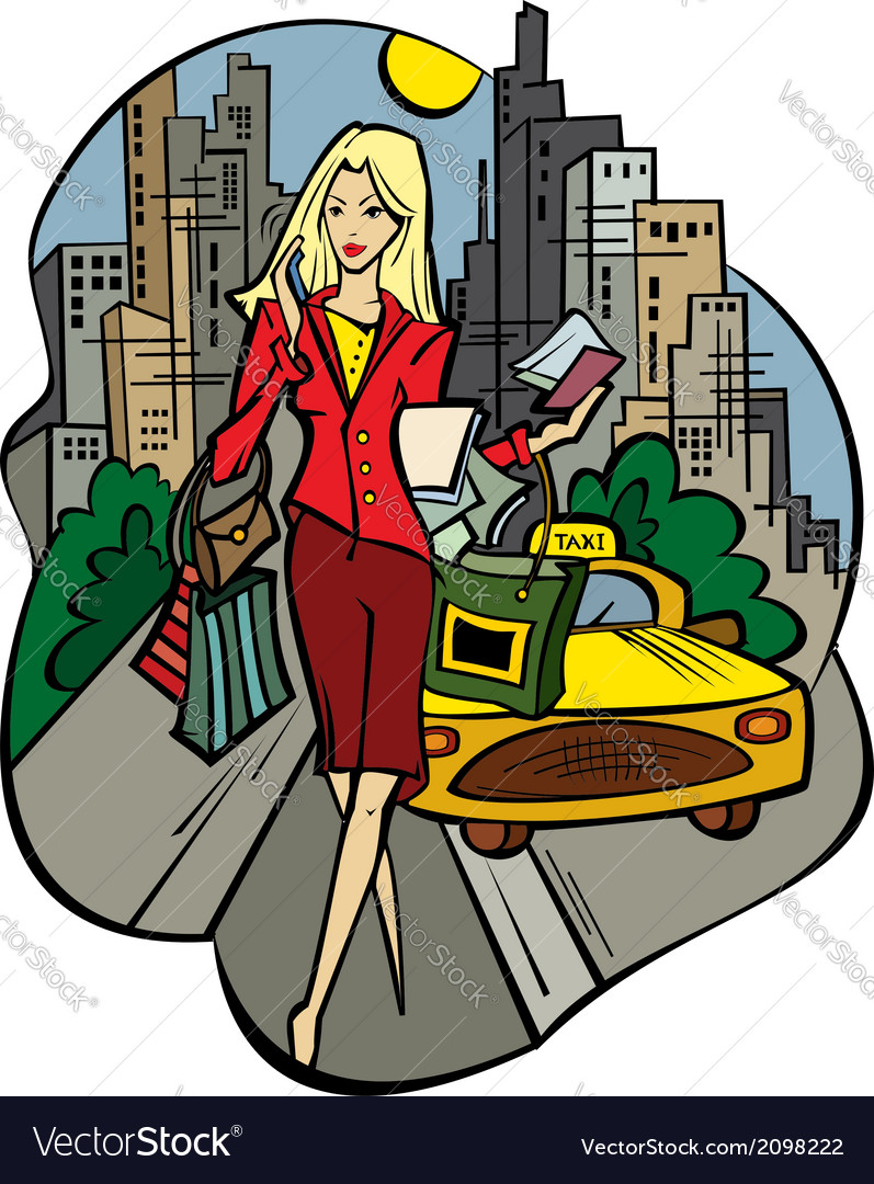 A business-lady in the city with purchases vector | Price: 1 Credit (USD $1)