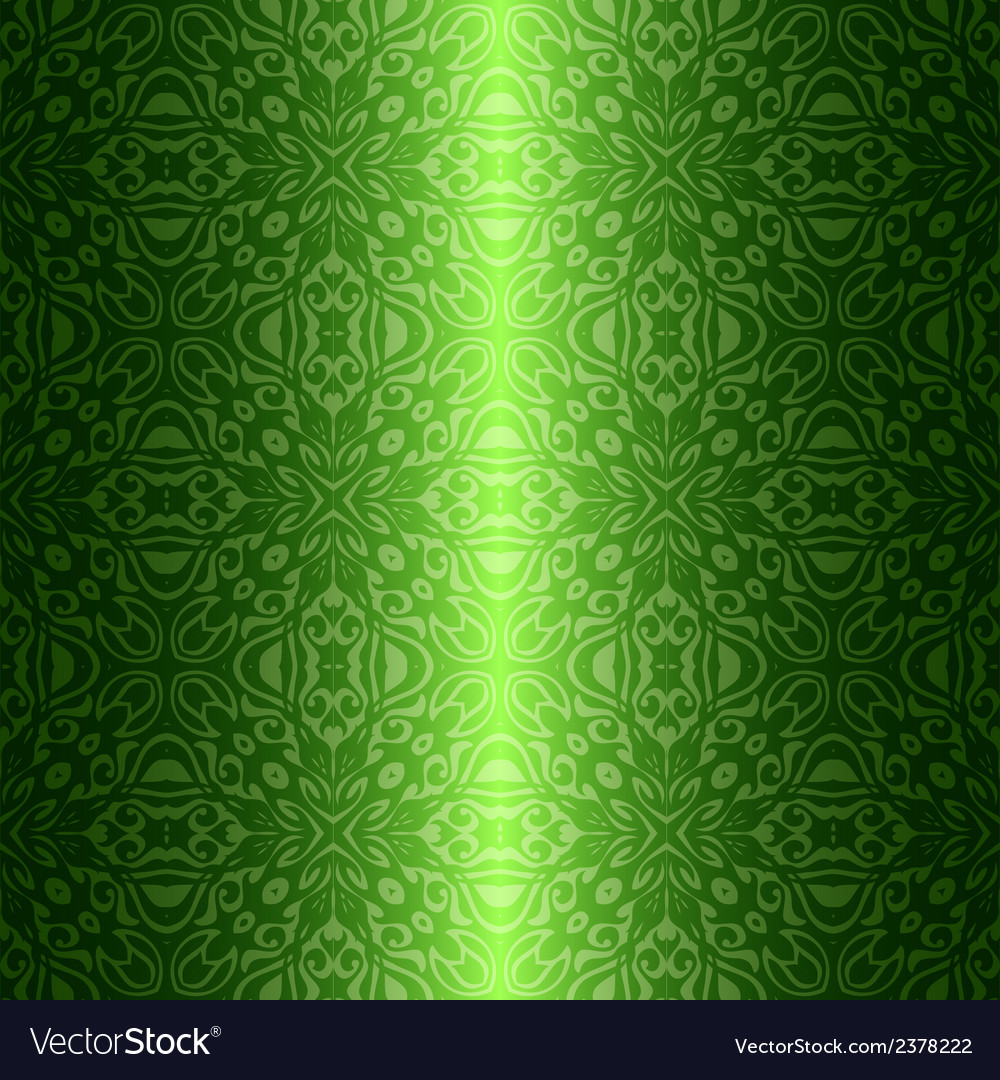 Damask vintage floral green seamless pattern vector | Price: 1 Credit (USD $1)