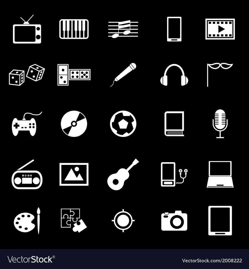 Entertainment icons on black background vector | Price: 1 Credit (USD $1)