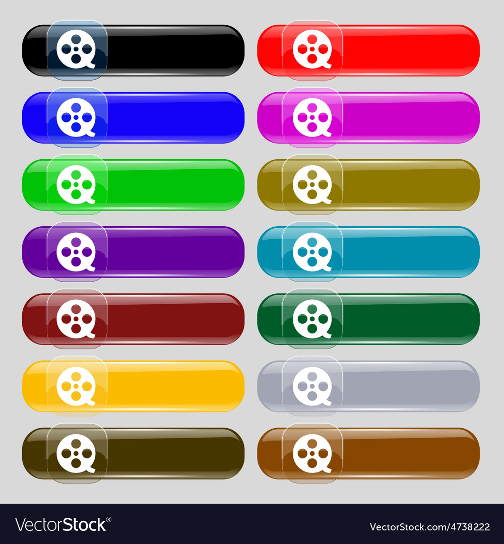 Film icon sign set from fourteen multi-colored vector | Price: 1 Credit (USD $1)