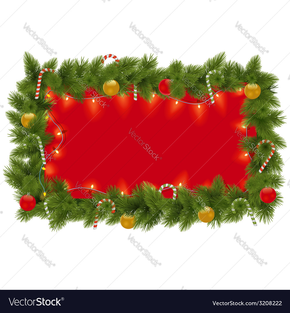 Fir frame with garland vector | Price: 1 Credit (USD $1)