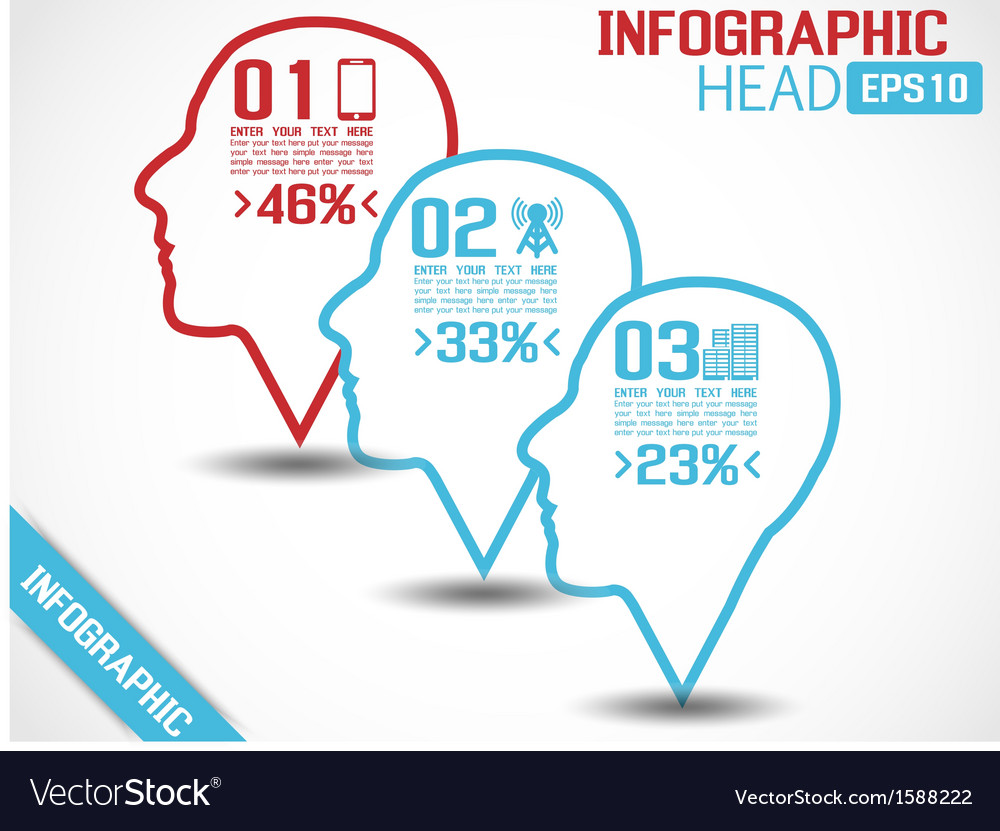 Infographic head style 2 blue vector | Price: 1 Credit (USD $1)
