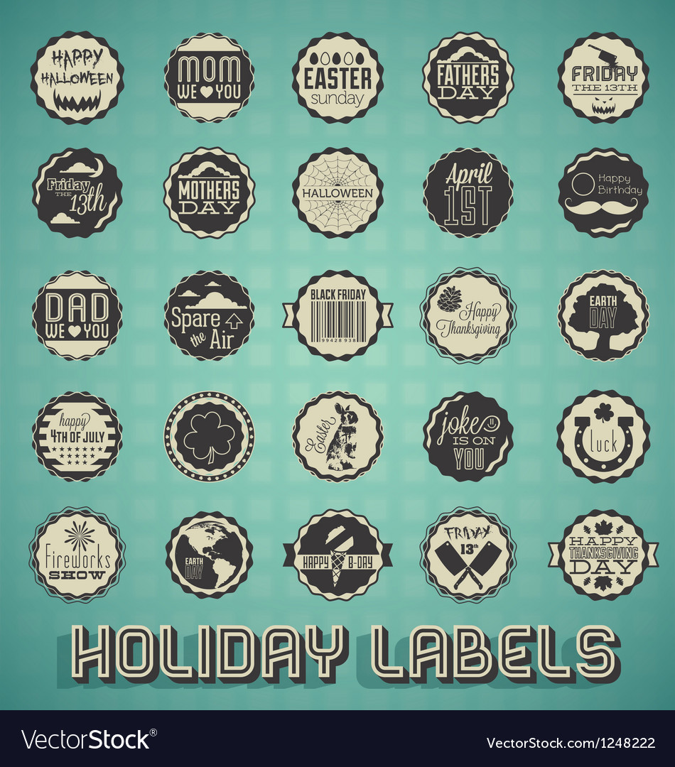 Mix of holiday labels and icons vector | Price: 3 Credit (USD $3)
