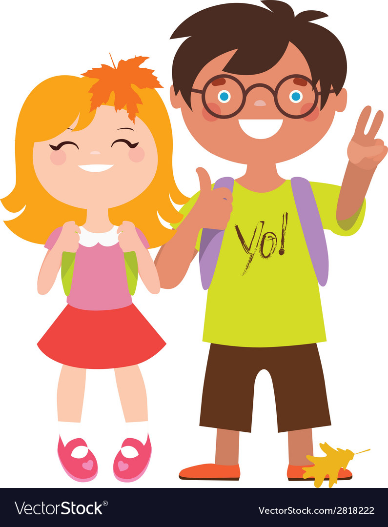 School students couple vector | Price: 1 Credit (USD $1)