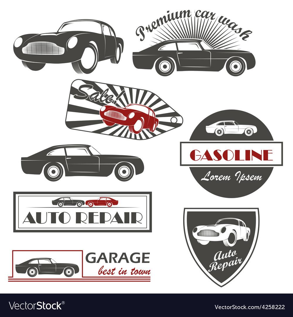 Set of vintage car symbols car service and vector | Price: 1 Credit (USD $1)
