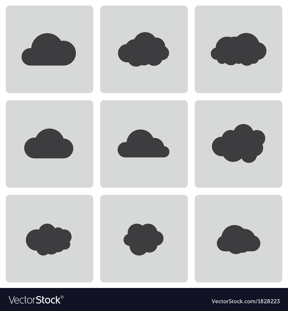 Black cloud icons set vector | Price: 1 Credit (USD $1)