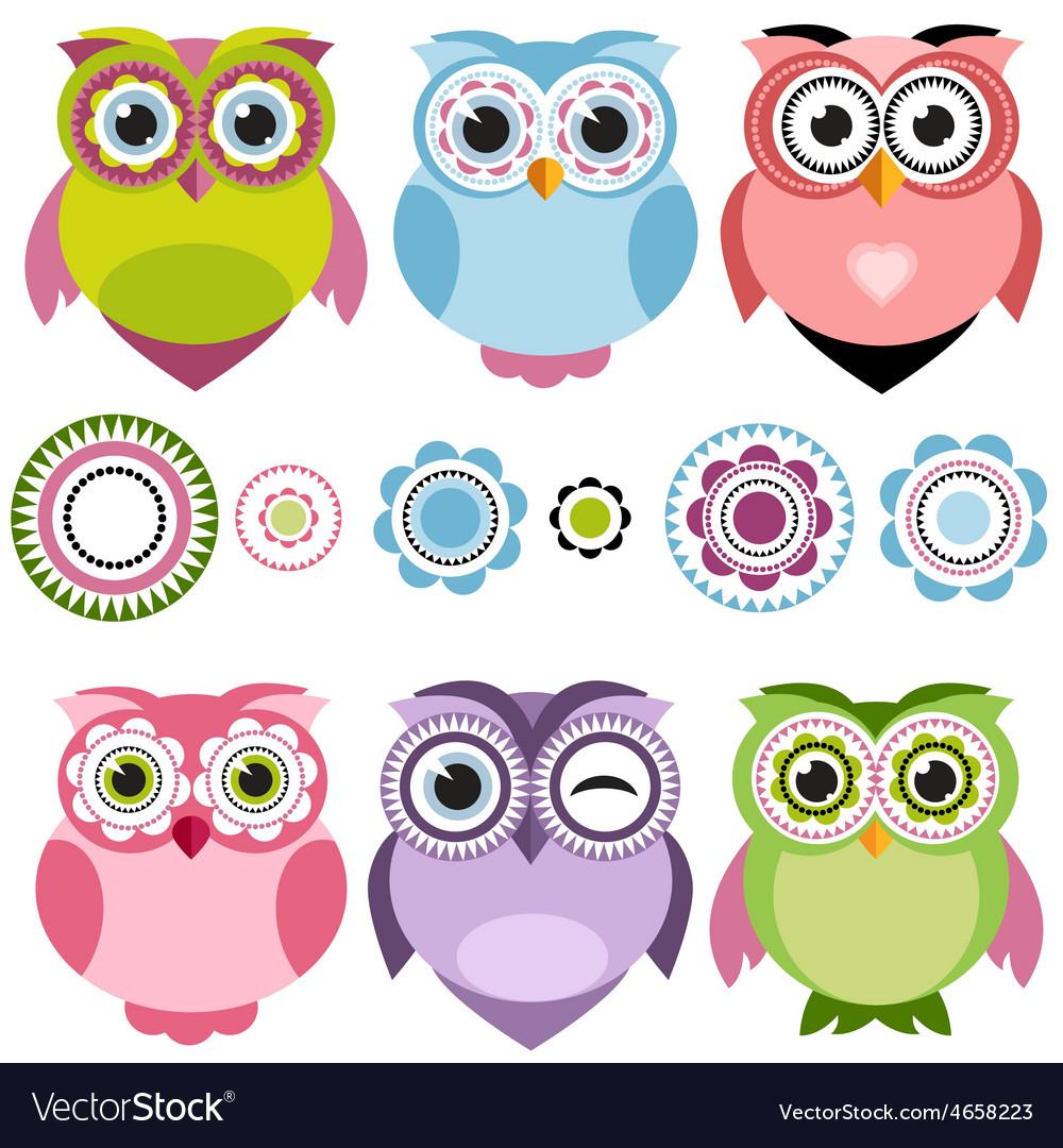 Cute cartoon owls set vector | Price: 1 Credit (USD $1)