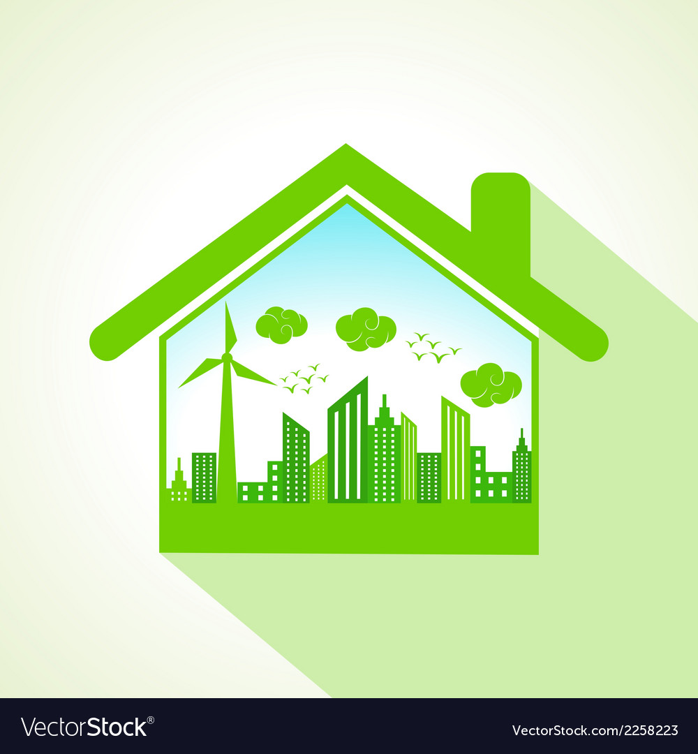 Ecology concept with home stock vector | Price: 1 Credit (USD $1)
