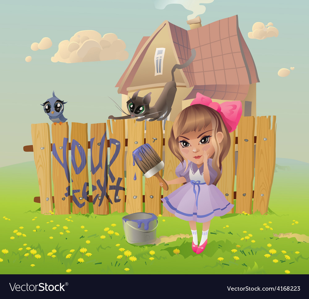 Girl writes on the fence vector | Price: 3 Credit (USD $3)