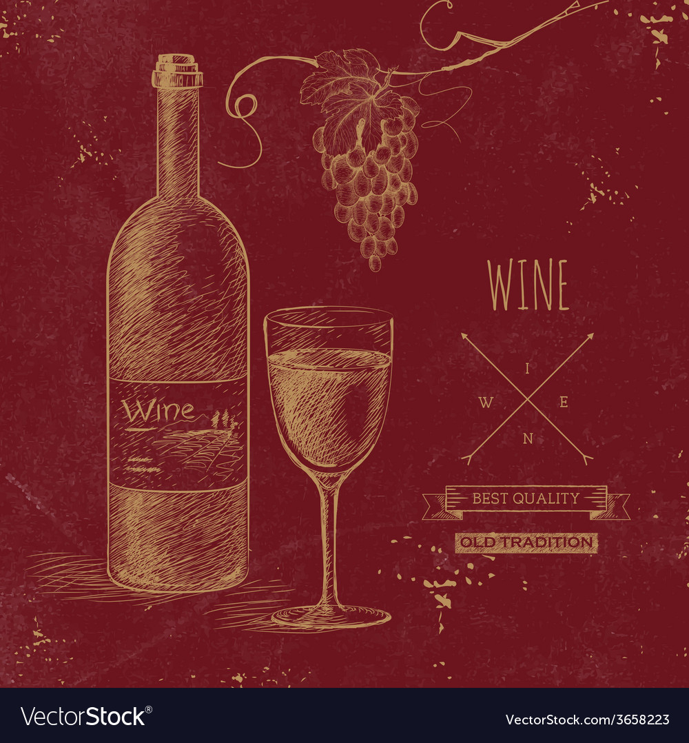 Hand drawn grunge wine background vector | Price: 1 Credit (USD $1)