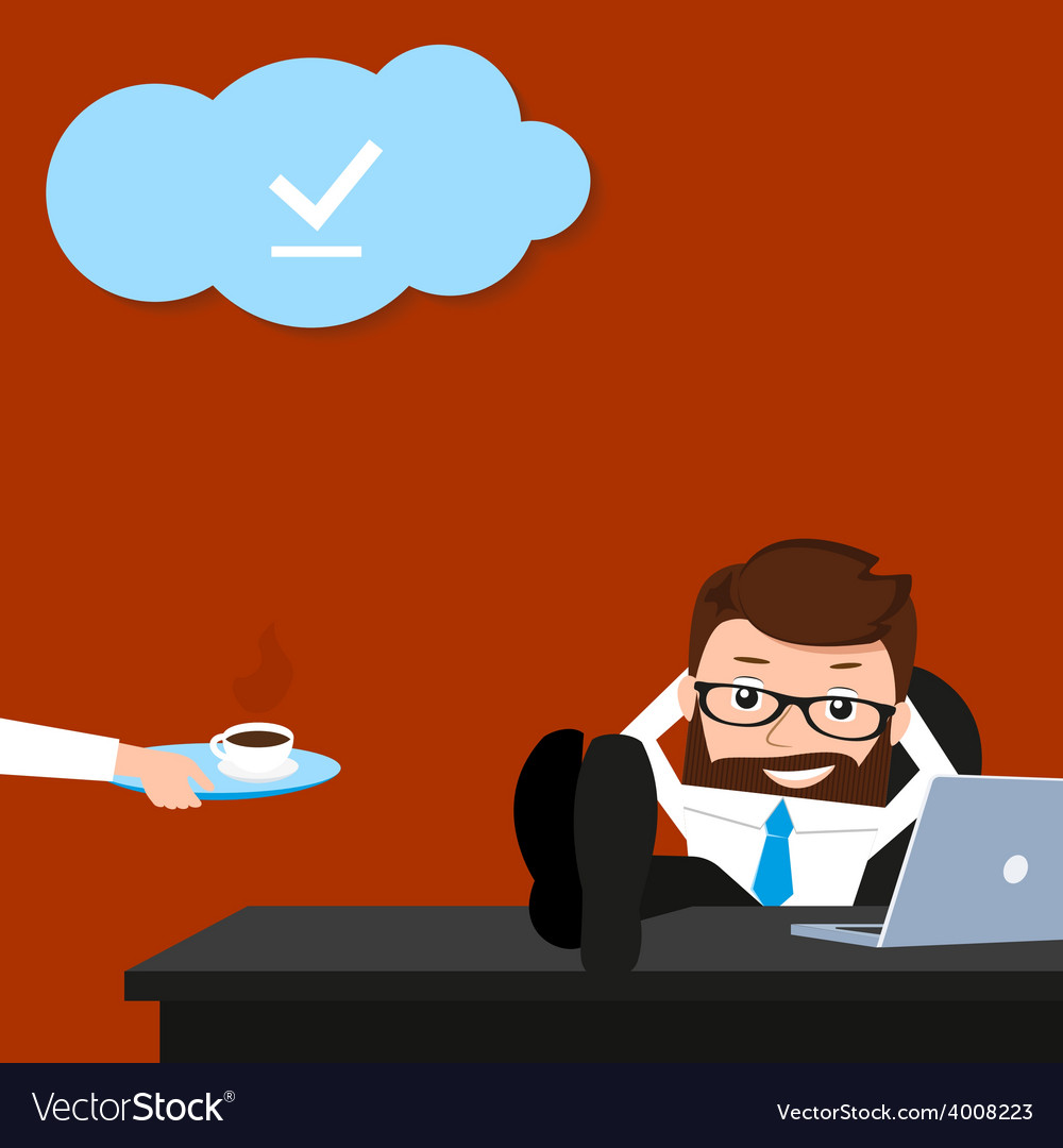 Lucky businessman is relaxing at work place vector | Price: 1 Credit (USD $1)