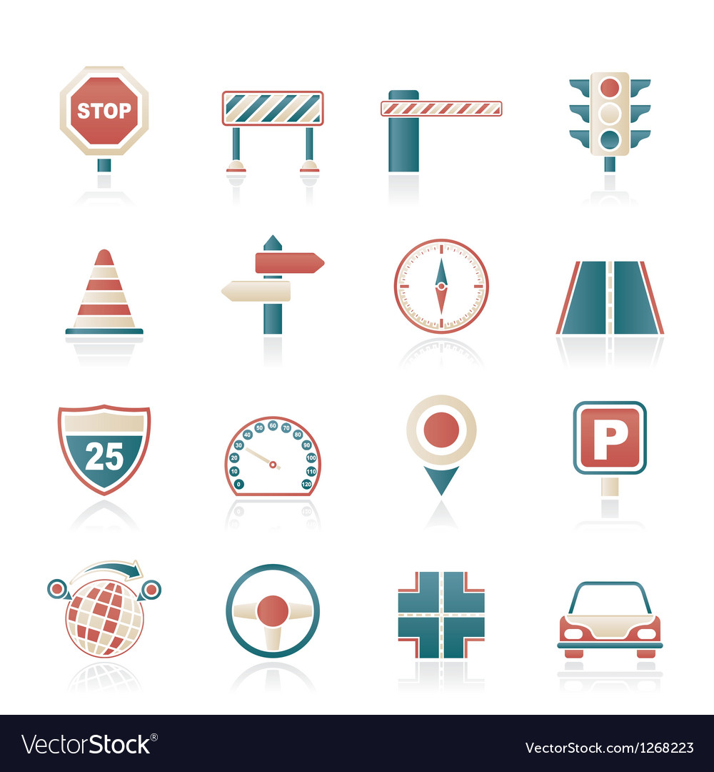 Road and traffic icons vector | Price: 1 Credit (USD $1)