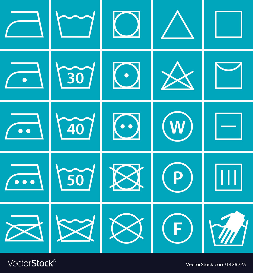 Set of washing symbols vector | Price: 3 Credit (USD $3)