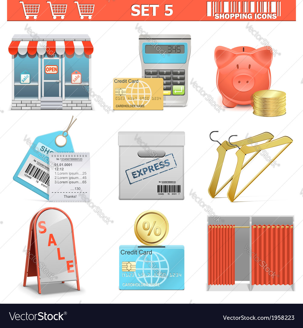 Shopping icons set 5 vector | Price: 1 Credit (USD $1)