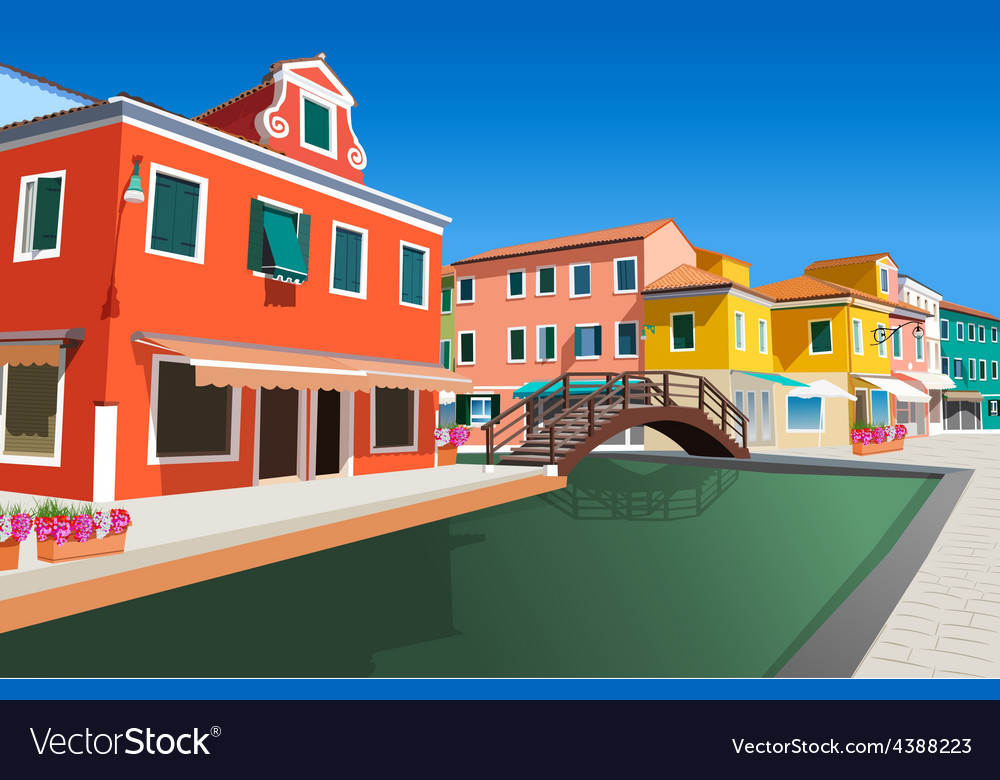 Small street in venice vector | Price: 3 Credit (USD $3)