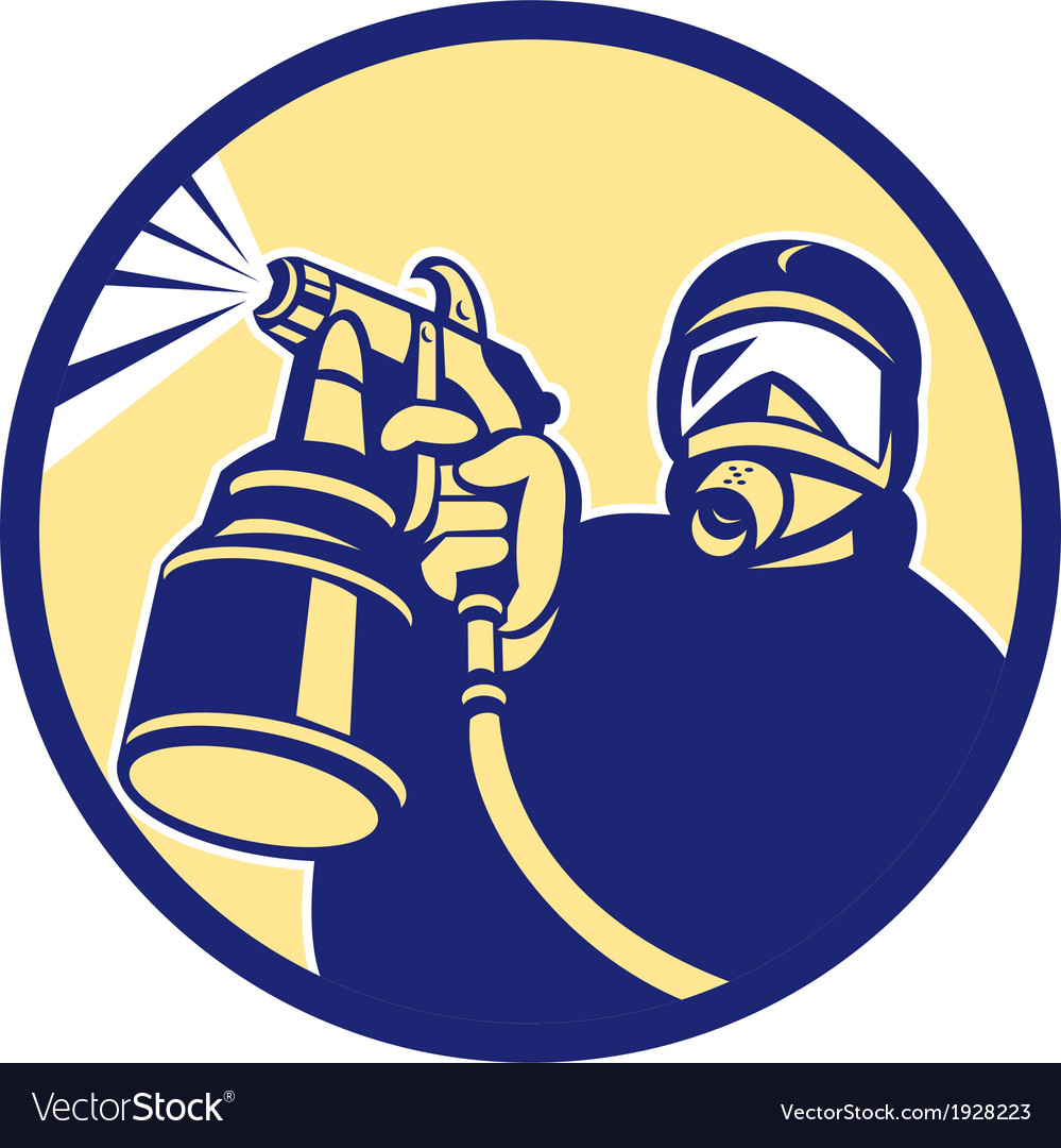 Spray paint gun painter spraying retro vector | Price: 1 Credit (USD $1)