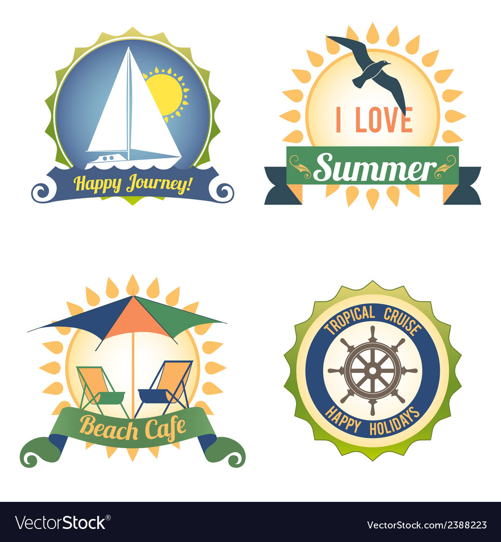 Travel color labels vector | Price: 1 Credit (USD $1)