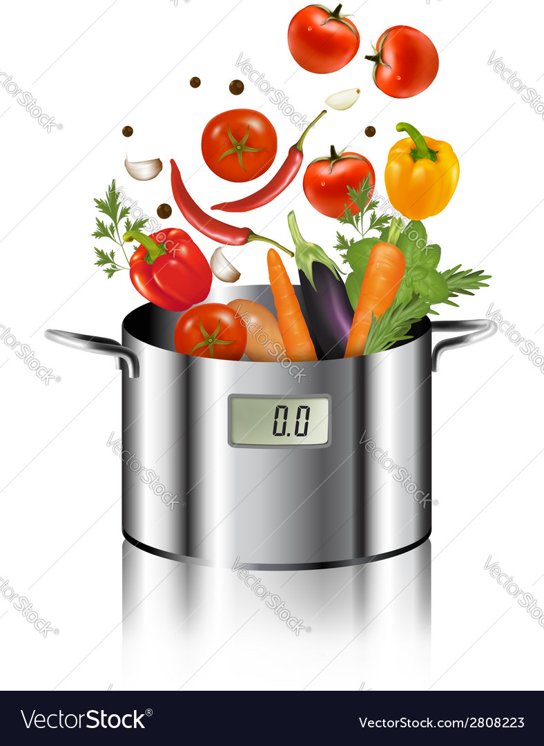 Vegetables falling into a pot healthy and diet vector | Price: 1 Credit (USD $1)