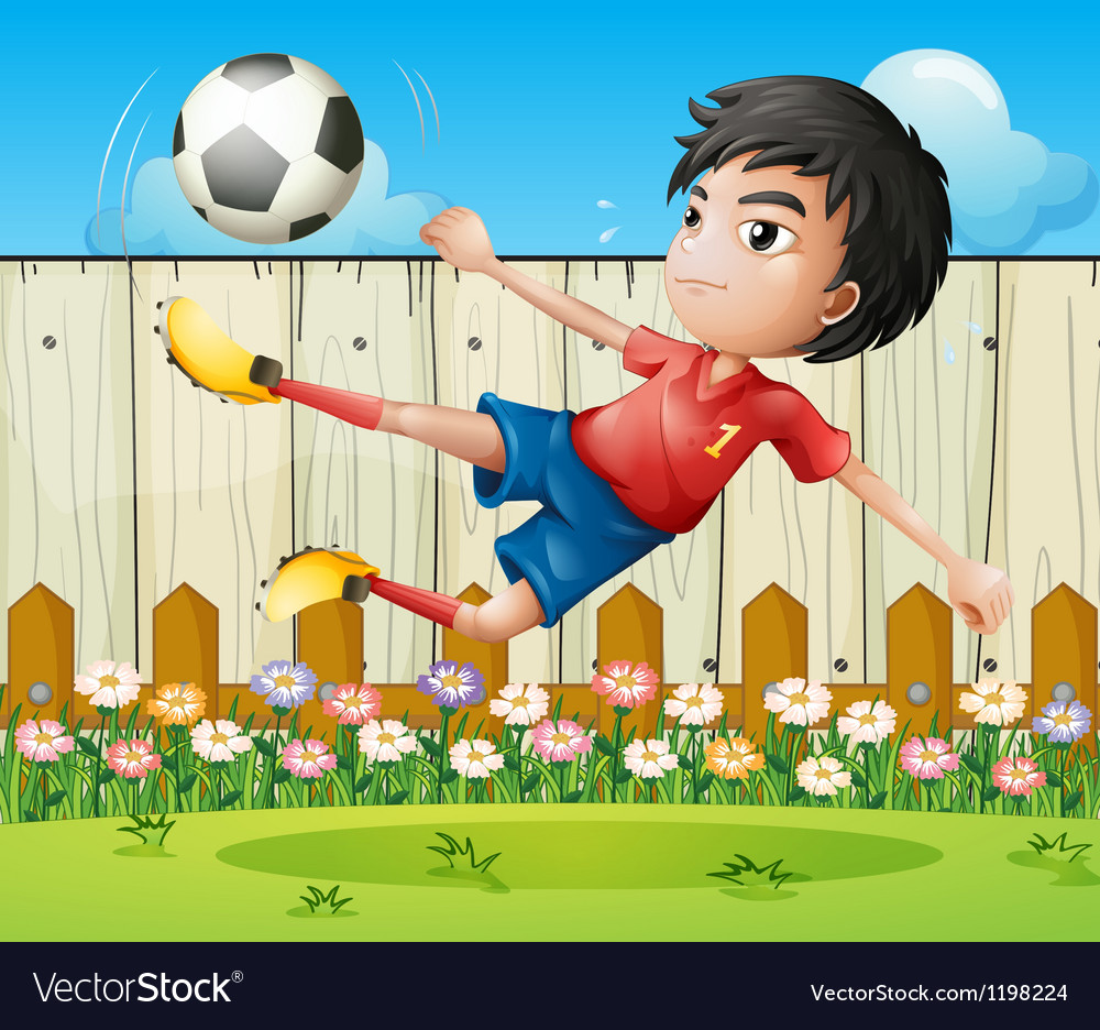 A boy playing soccer inside the fence vector | Price: 1 Credit (USD $1)