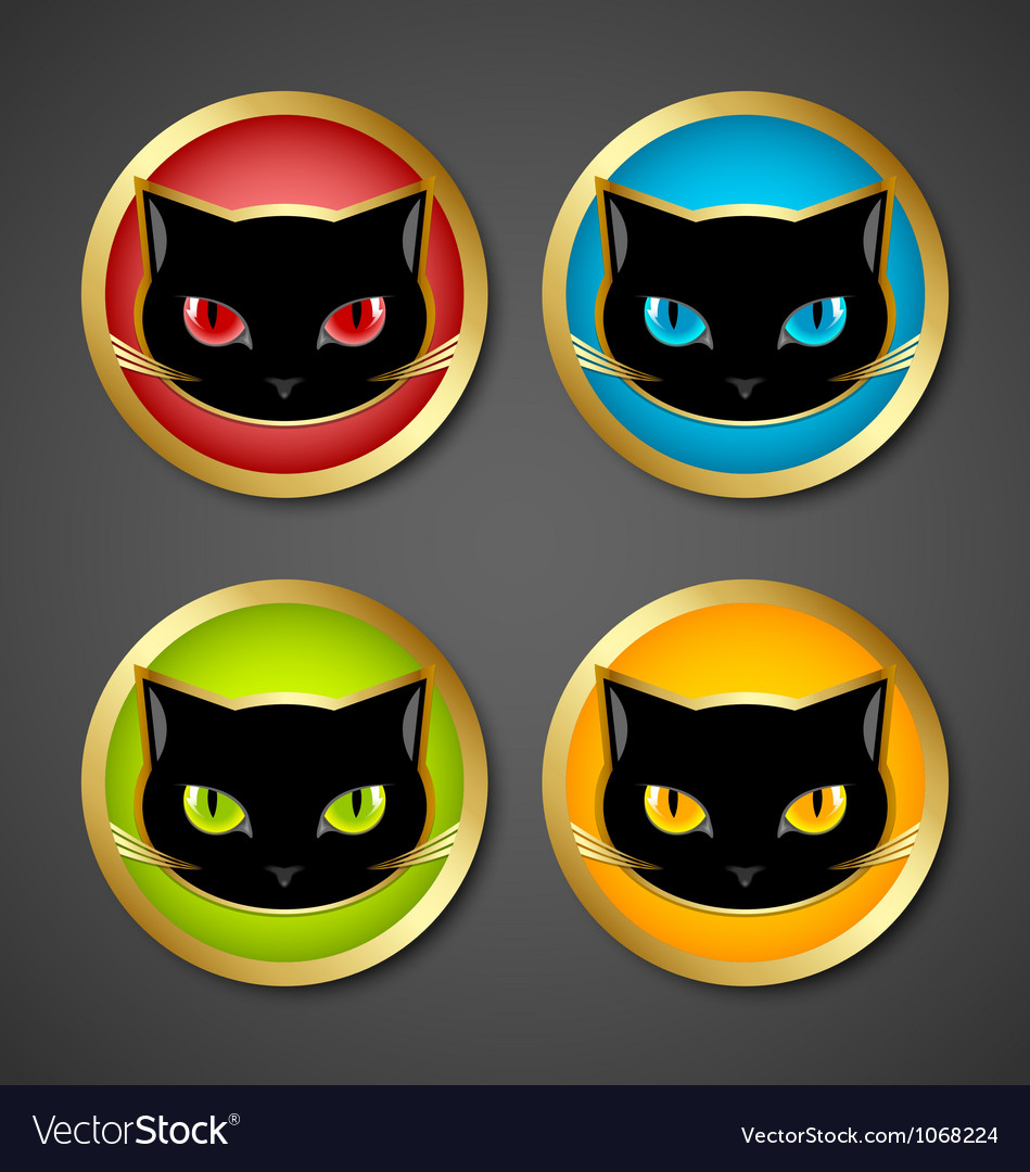 Black cat head icons vector | Price: 1 Credit (USD $1)