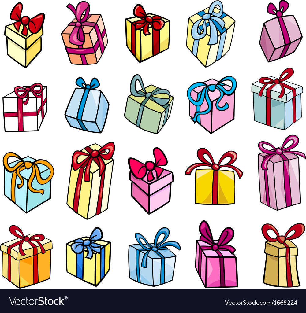 Christmas or birthday gift clip art set vector | Price: 1 Credit (USD $1)
