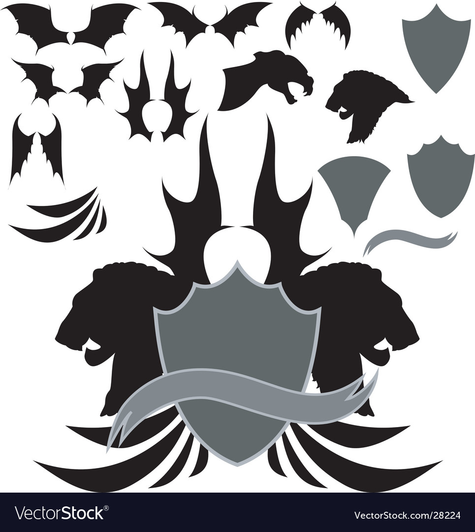 Dragon wing heraldry vector | Price: 1 Credit (USD $1)