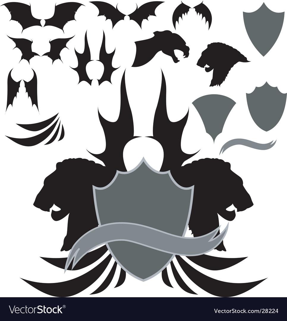 Dragon wing heraldry vector
