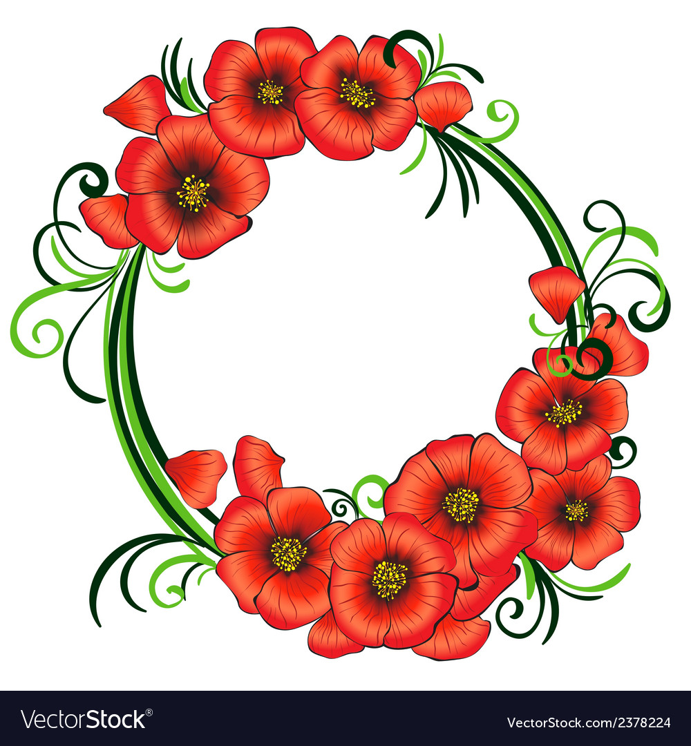 Floral frame with red poppies and green swirls vector | Price: 1 Credit (USD $1)
