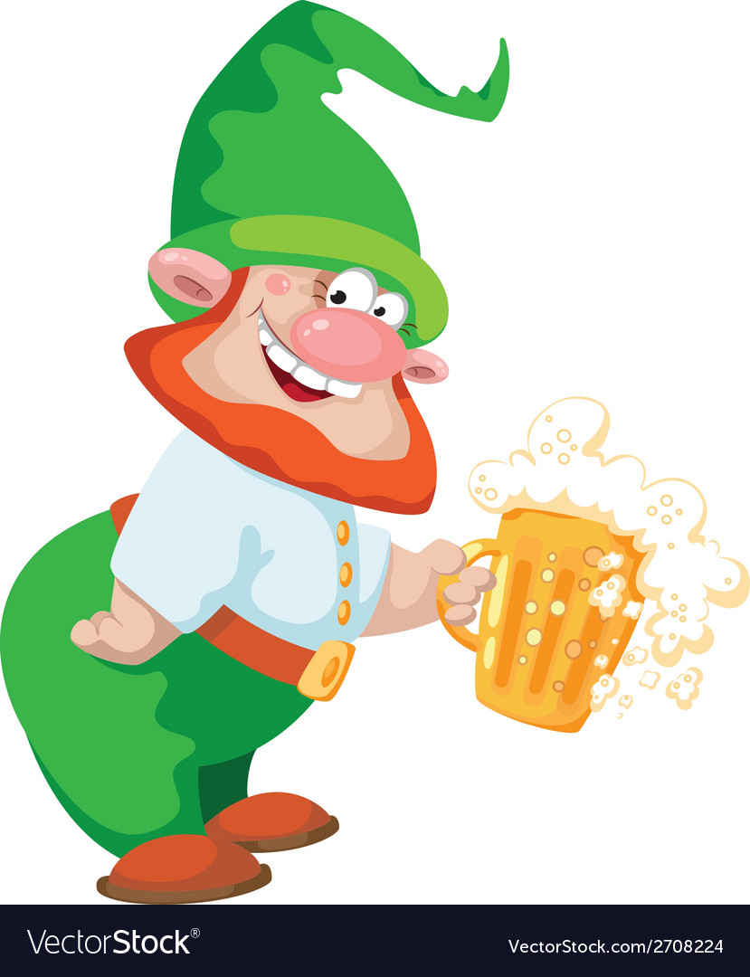 Gnome and beer vector | Price: 3 Credit (USD $3)