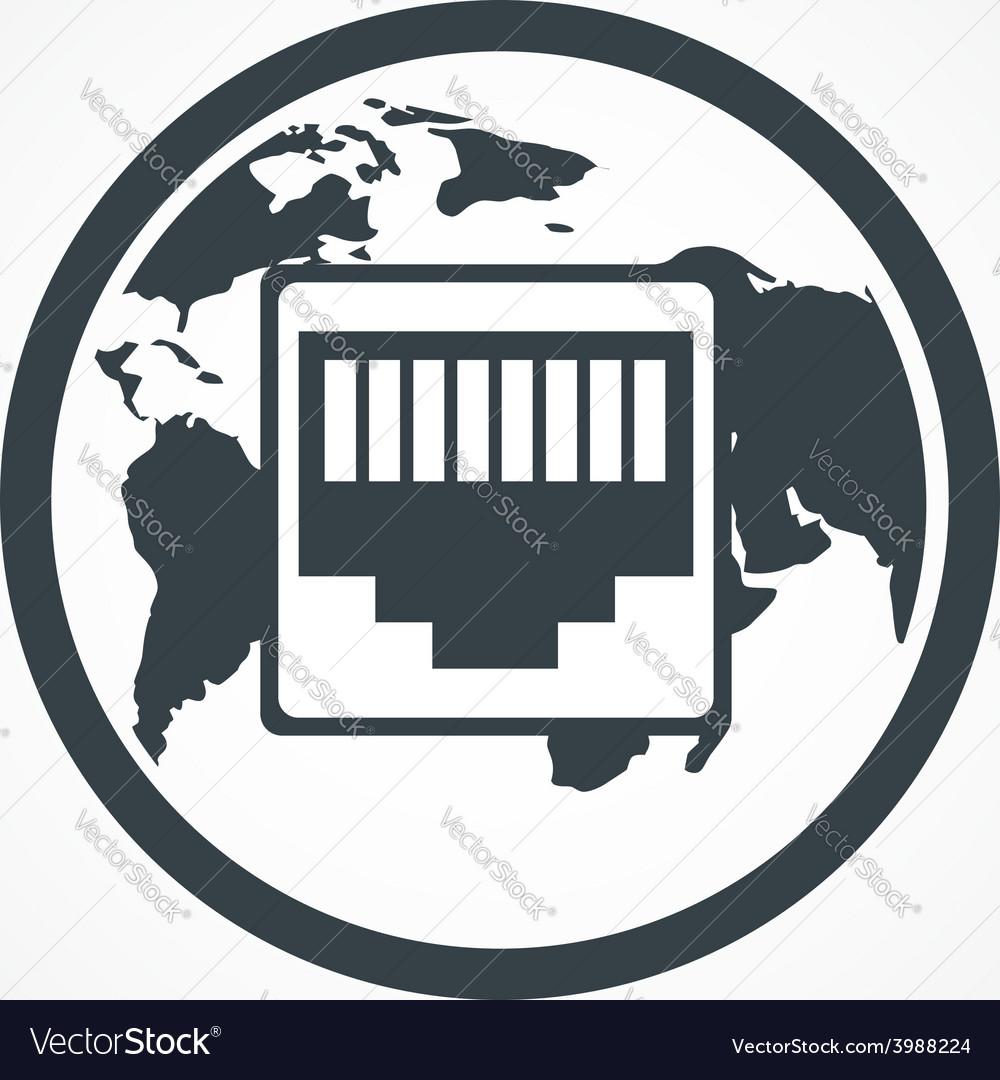 Network port icon vector
